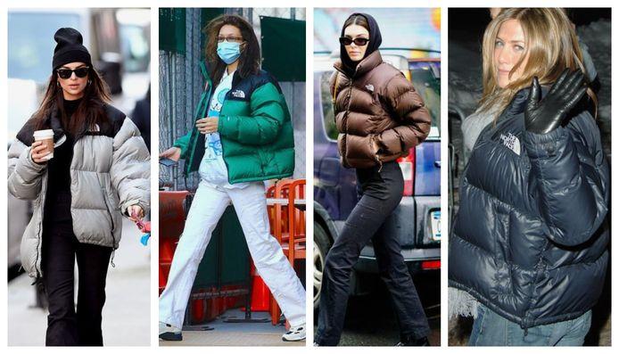 Emily Ratajkowski, Bella Hadid, Kendall Jenner et Jennifer Aniston dans une doudoune The North Face.