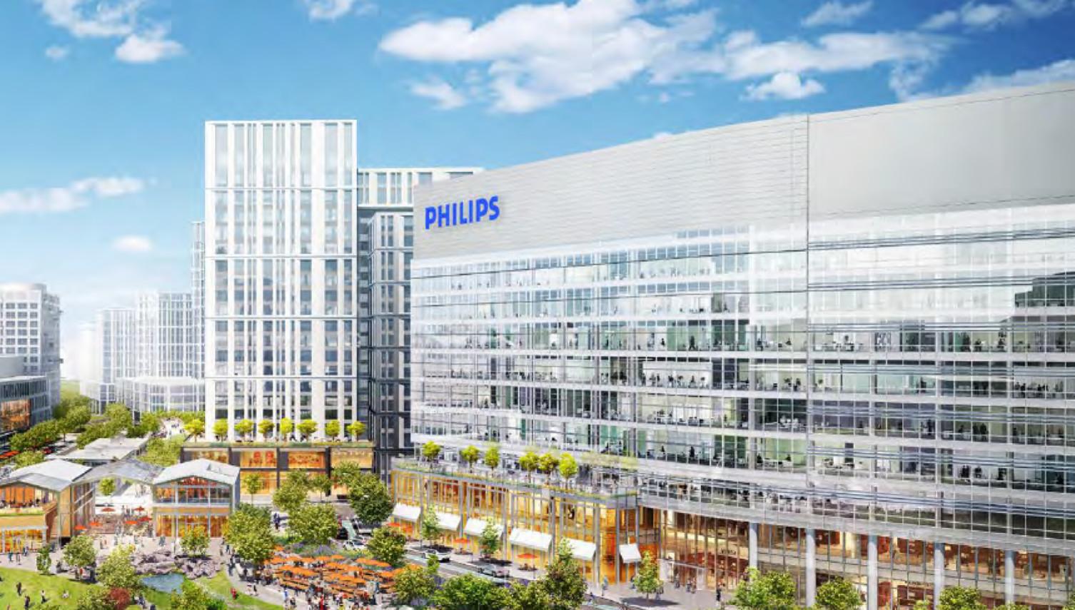 Het ontwerp van het nieuwe hoofdkantoor voor Philips Noord-Amerika in Cambridge.