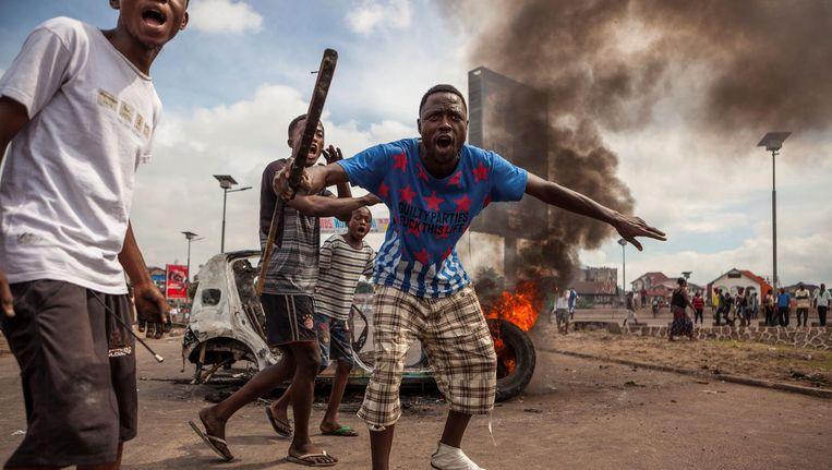 Aanhangers van de oppositiepartij protesteren in Congo Beeld anp