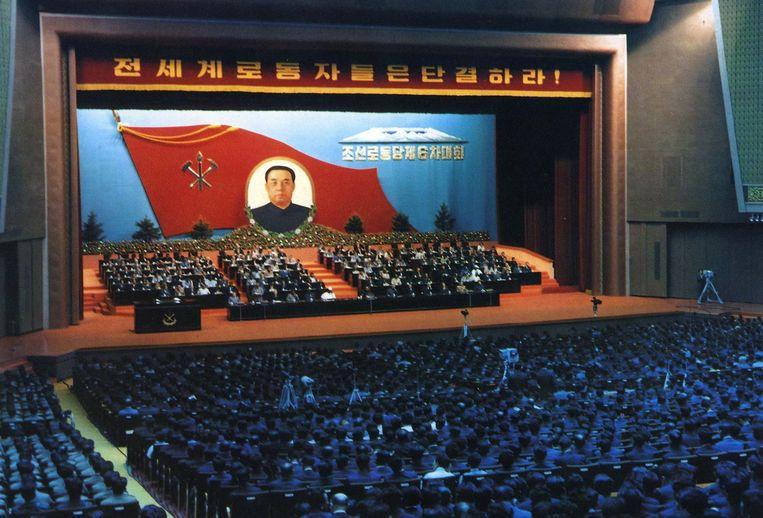 Archieffoto uit 1980 van het partijcongres onder leiding van Kim il-Sung. Beeld AFP