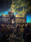 Een schilderij van de brand in de Sint Jan in Den Bosch in 1584.