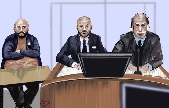 De drie hoofdverdachten in de rechtbank: