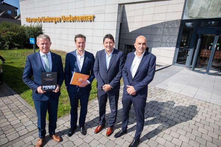 De Toekomstindicator wordt voorgesteld door gouverneur Herman Reynders, gedeputeerde van economie Tom Vandeput, voorzitter van Voka Francis Wanten en Kris Claes, directeur belangenbehartiging.