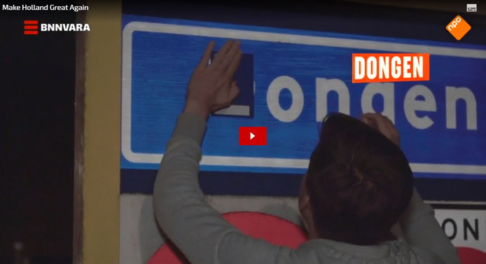 Een plakactie van BNNVARA voor het programma Make Holland Great Again. Dongen werd Longen is te zien in de eerste uitzending waarin aandacht wordt gevraagd voor donorregistratie.