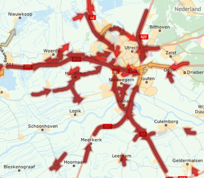 Veel files rond Utrecht op dinsdag 15 oktober 2019.