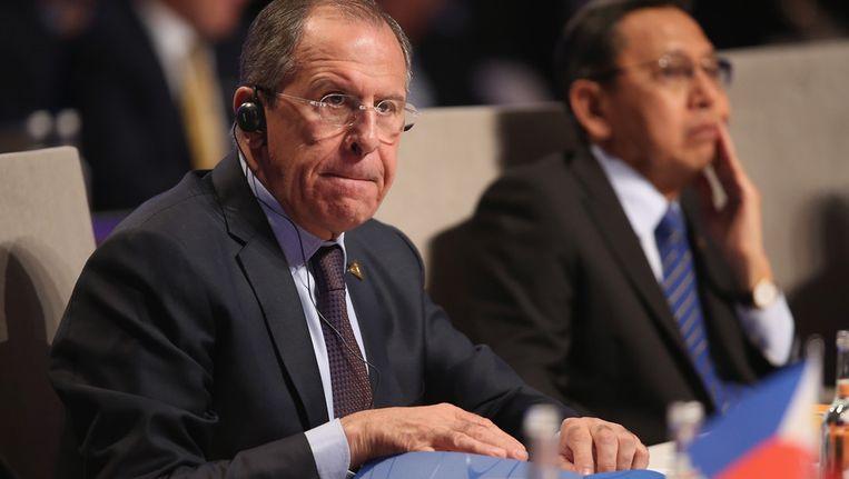 De Russische minister Sergej Lavrov van Buitenlandse Zaken vandaag tijdens de NSS in Den Haag. Beeld getty
