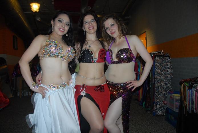 V.l.n.r. Dinah Mademoiselle (uit Japan), Sirine Ayadi en Lena Sam (beiden België)