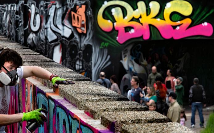 Graffiti in de Berenkuil. Eindhoven kent levendige subculturen rond popmuziek en beeldende kunst.
