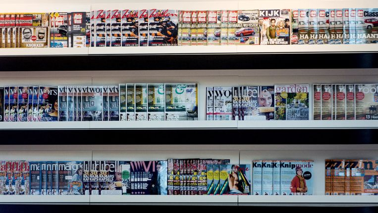 Tijdschriften in het hoofdkantoor van Sanoma in Hoofddorp. Beeld null