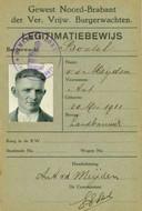 Het legitimatiebewijs burgerwacht van Toon van der Meijden.
