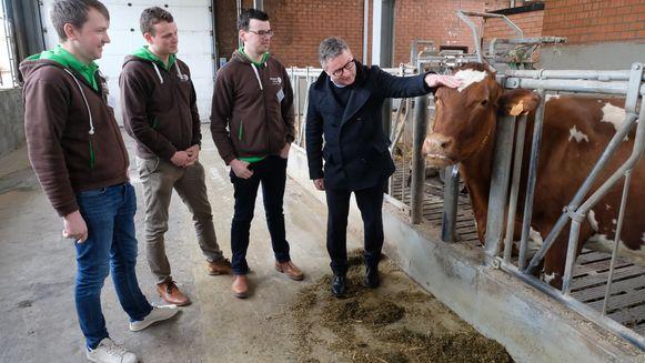 Minister Koen Van den Heuvel is op bezoek in melkveebedrijf 'De Hoeve' in Pulle om de landbouwsector beter te leren kennen.