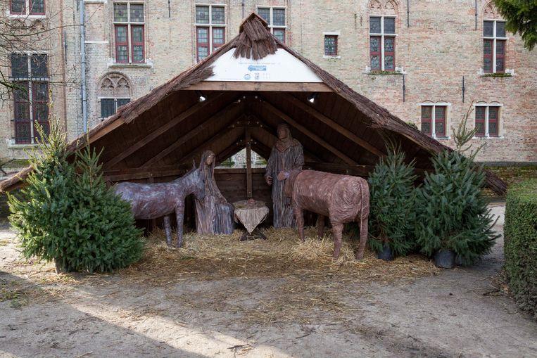 De levensgrote kerststal op archiefbeeld.