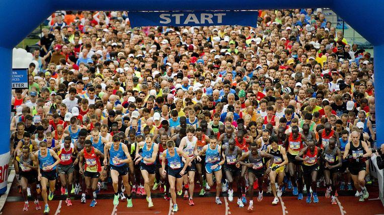 De marathon van Amsterdam, hier op archiefbeeld. Beeld EPA