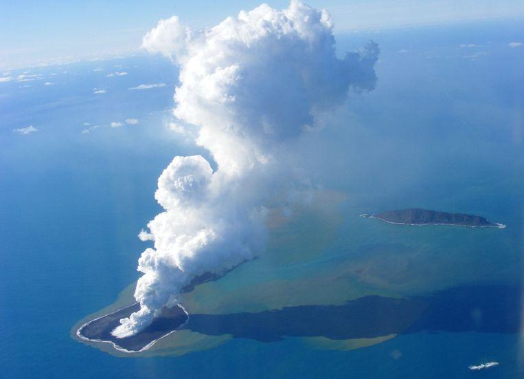 Een vulkaanuitbarsting op Tonga in 2009. Beeld afp