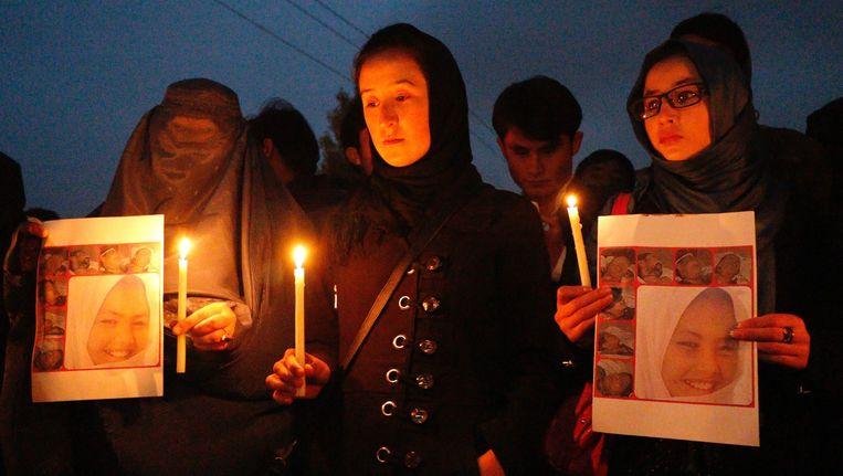 Afghanen van de Hazara-minderheid tijdens de herdenking in in Kabul Beeld epa