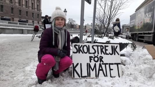 Greta Thunberg, afgelopen vrijdagochtend voor het Zweedse parlement
