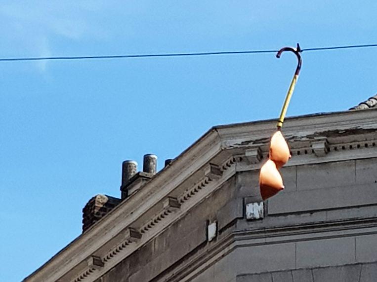 Een wandelstok en een paar valse borsten metershoog bleven achter na het feestje dat Carnaval Halle toch wel was twee weken geleden.