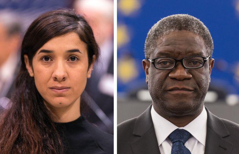 Nadia Murad (L) en Denis Mukwege (R)