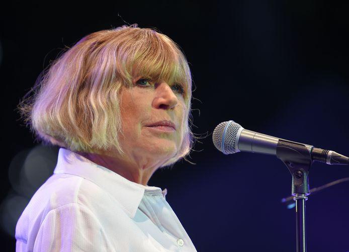 De Engelse zangeres Marianne Faithfull tijdens een festival in het Franse Cognac in juli 2016.