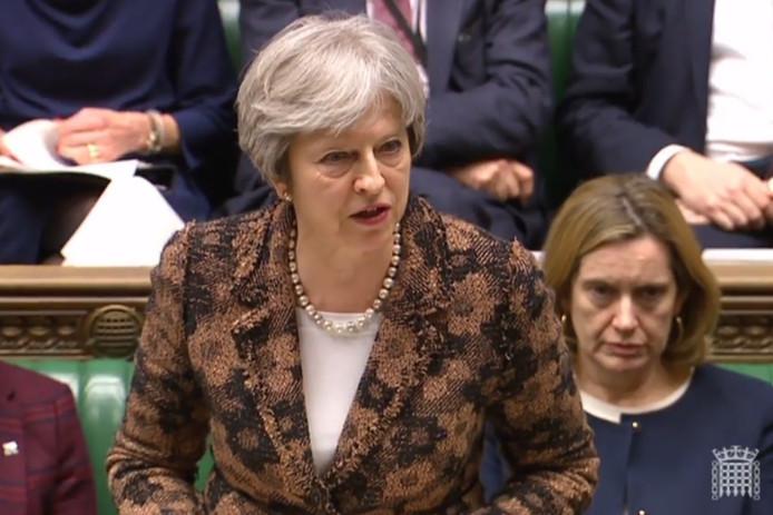 De Britse premier Theresa May in het parlement.