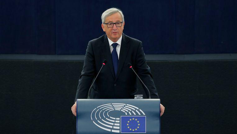 Jean-Claude Juncker spreekt woensdag het Europees Parlement toe. Beeld REUTERS