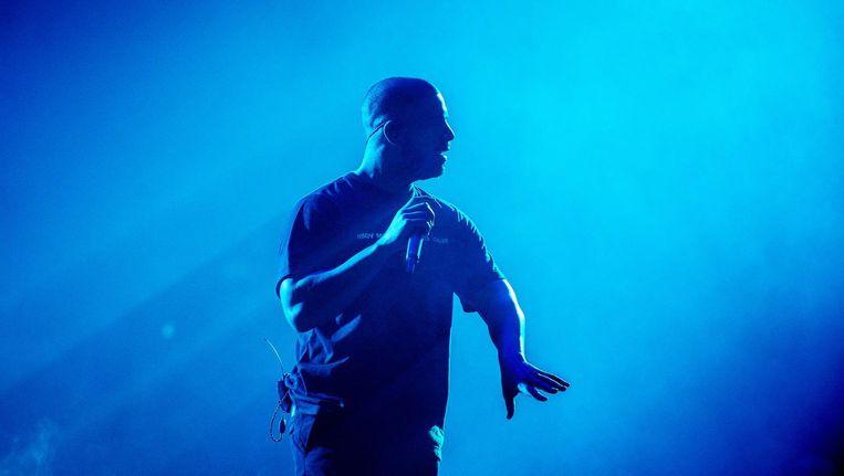 Drake tijdens de eerste uit zijn, inmiddels langdurige reeks, van vier shows in Amsterdam. Beeld anp