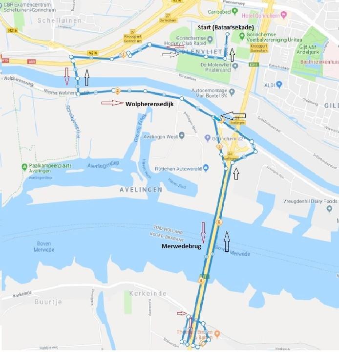 De route van de Merwede Triathlon in Gorinchem.