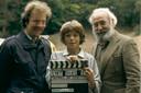 Karst van der M. op de set van Thomas en Senior, met acteurs Bart en Lex Goudsmit.