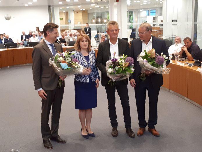 Het college van burgemeester en wethouders van Bernheze in mei 2018, direct na de beëdiging van de wethouders: (v.l.n.r.) Peter van Boekel, burgemeester Marieke Moorman, Rien Wijdeven en Rein van Moorselaar.