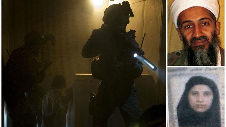 Een beeld uit 'SEAL Team Six: The Killing of Osama bin Laden', een dramatisatie van de nacht dat Osama bin Laden stierf. Rechts bin Laden en zijn vrouw Amal.