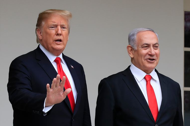 Trump en Netanyahu.  Beeld AP
