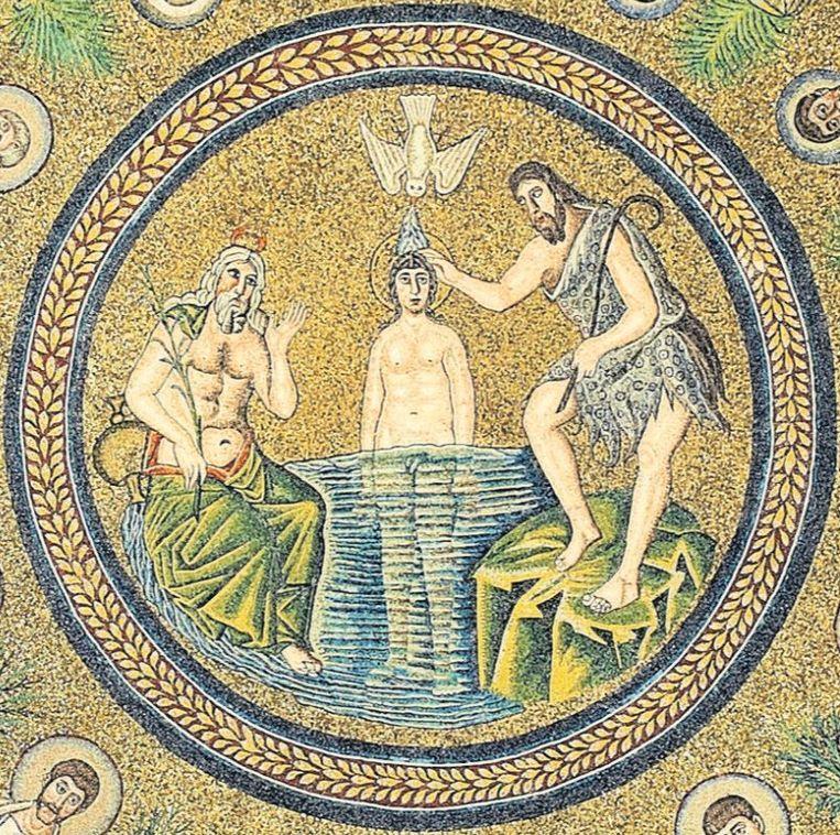 Mozaïek van de doop van Jezus in de doopkapel van de Arianen Beeld Trouw