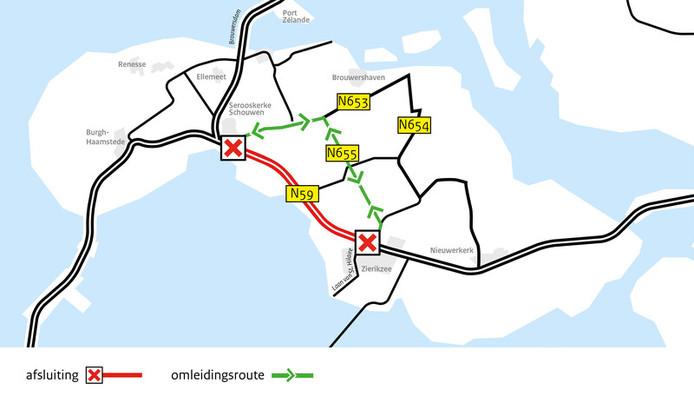 Omleiding in verband met wegwerkzaamheden bij Zierikzee