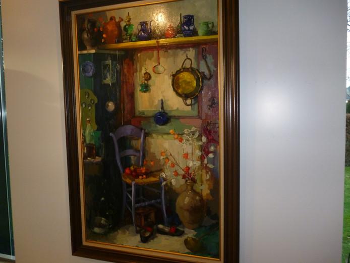 Werk van de Schijndelse schilder Dorus van Oorschot bij de nieuwe expositie in het Museum Jan Heestershuis in Schijndel.