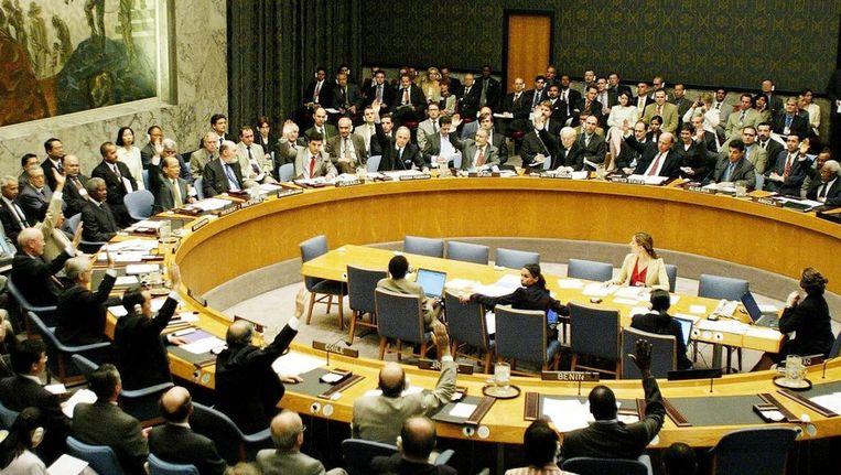 De Veiligheidsraad van de VN telt 47 leden. Zes stemden tegen de resolutie, 30 stemden voor. Beeld anp