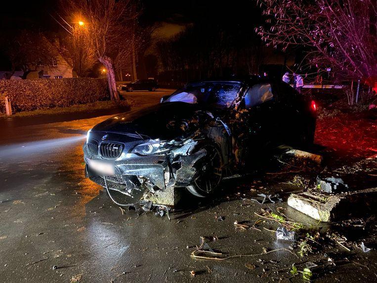 De BMW-bestuurder ramde een boom en een paaltje.