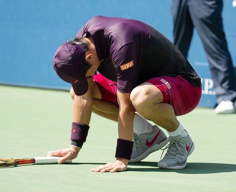 De 1.78 meter lange Japanner is op het hardcourttoernooi de enige kwartfinalist die kleiner is dan 1.80 meter. Beeld EPA
