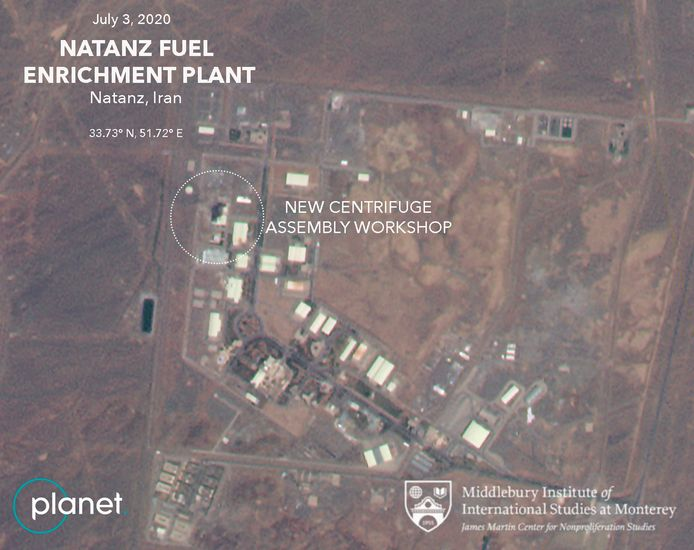 """This Friday, July 3, 2020 satellite image from Planet Labs Inc. that has been annotated by experts at the James Martin Center for Nonproliferation Studies at Middlebury Institute of International Studies shows a damaged building after a fire and explosion at Iran's Natanz nuclear site. An online video and messages purportedly claiming responsibility for a fire that analysts say damaged a centrifuge assembly plant at Iran's underground Natanz nuclear site deepened the mystery Friday around the incident âĔ even as Tehran insisted it knew the cause but would not make it public due to """"security reasons."""" (Planet Labs Inc., James Martin Center for Nonproliferation Studies at Middlebury Institute of International Studies via AP)"""