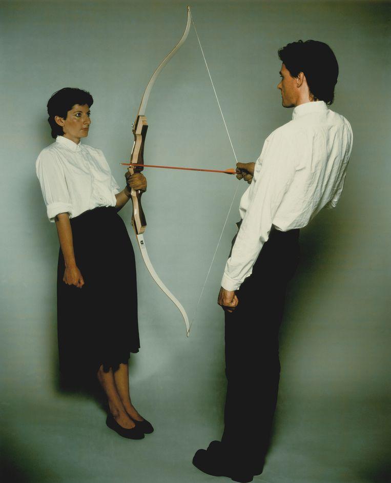 Marina Abramovic en Ulay: Rest Energy (1980). Beeld Collectie Stedelijk Museum