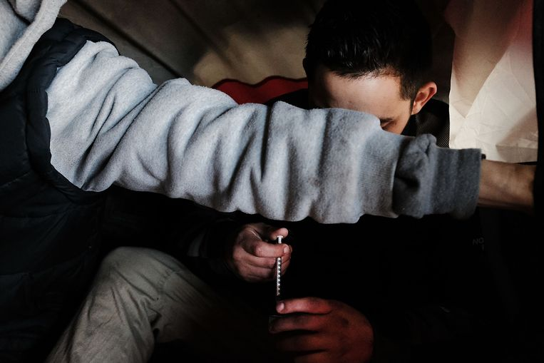 Meer dan de helft van de drugsdoden vielen door de sterke pijnstiller fentanyl.  Beeld AFP