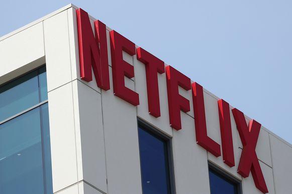 Het logo van Netflix op een kantoor in Los Angeles.