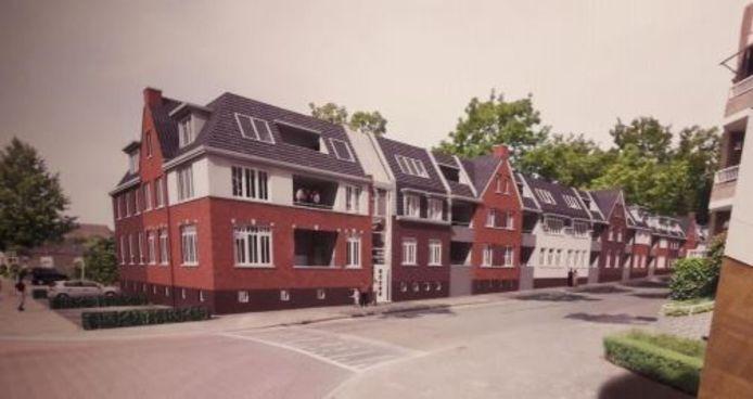 Impressie van de nieuwbouw aan de kant van de Baerdijk, zoals beoogd door de Oisterwijkse ondernemer Petro van Zon in samenwerking met Roozen van Hoppe