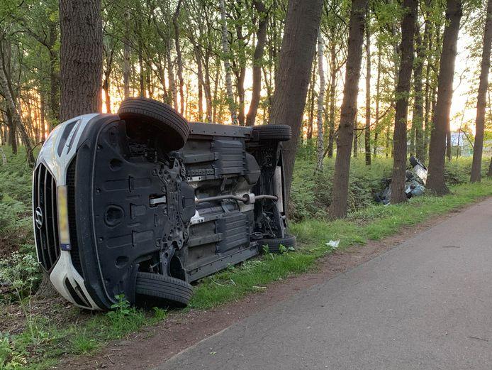 Auto op z'n kant gezet in Boxtel.