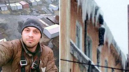 Profklimmer hangt als ijskegel dood aan gebouw: Siberië staat voor mysterie