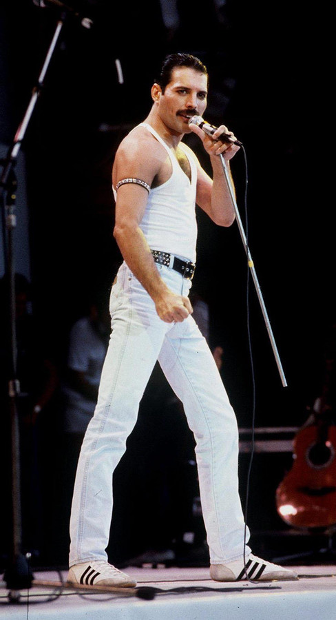 Freddie Mercury tijdens een optreden in 1985.