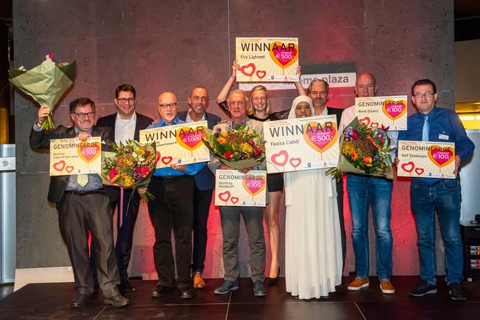 De winnaars van de vrijwilligersprijzen.