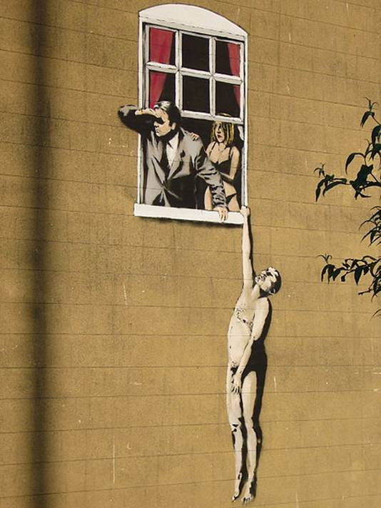 "Graffiti van Banksy in Bristol ""The Lovers"""