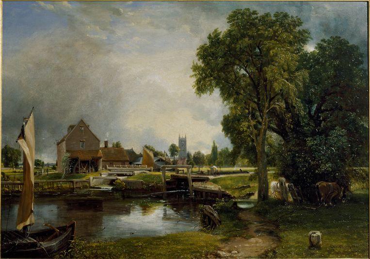 Gezicht op de sluis en molen van Dedham, 1820, olieverf op doek  Beeld John Constable / Teylers Museum