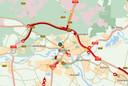 Files op A12 en A50 bij Arnhem als gevolg van een ongeval.