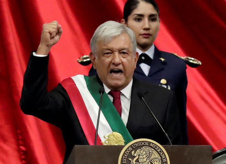 De nieuwe Mexicaanse president Andres Manuel Lopez Obrador tijdens zijn inauguratie in Mexico City.